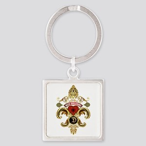 New Orleans Monogram D Square Keychain Keychains