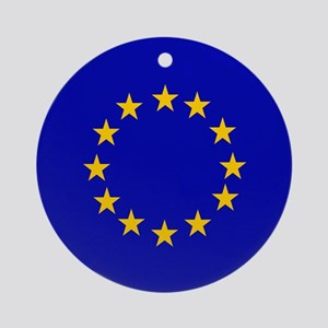 Square European Union Flag Ornament (Round)