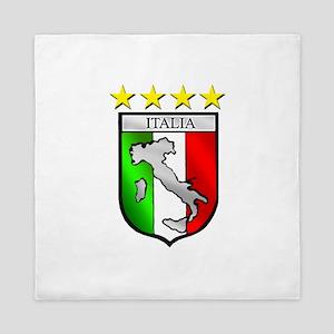 Italy flag emblem coat of arms Map Cre Queen Duvet