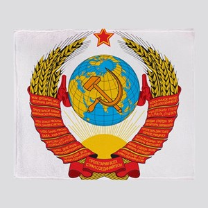 USSR Coat of Arms 15 Republic Emblem Throw Blanket