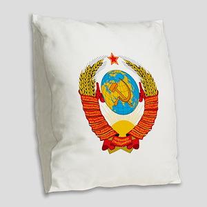 USSR Coat of Arms 15 Republic Burlap Throw Pillow