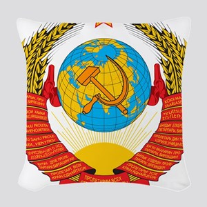 USSR Coat of Arms 15 Republic Woven Throw Pillow
