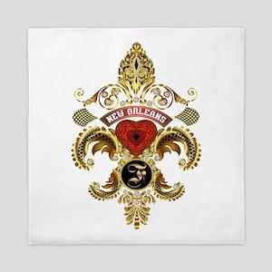 New Orleans Monogram F Queen Duvet