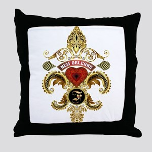 New Orleans Monogram F Throw Pillow