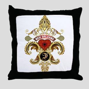New Orleans Monogram F Throw Pillow