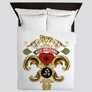 New Orleans Monogram K Queen Duvet