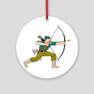 Archer Aiming Long Bow Arrow Cartoon Ornament (Rou