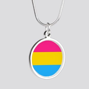 Pansexual Pride Flag Silver Round Necklace