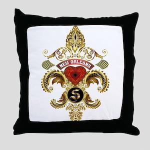 New Orleans Monogram S Throw Pillow