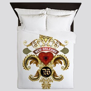 New Orleans Monogram W Queen Duvet