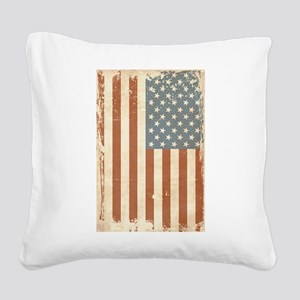 Distressed American Flag Square Canvas Pillow