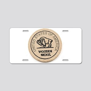 Wooden Nickel Aluminum License Plate