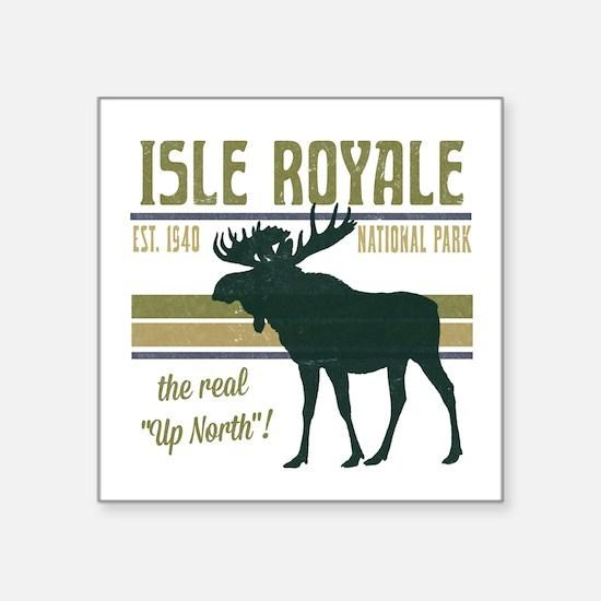 "Isle Royale Moose National  Square Sticker 3"" x 3"""