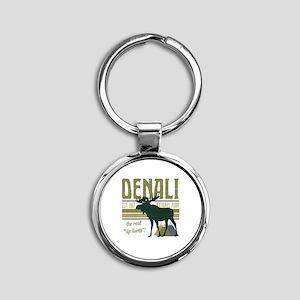 Denali National Park Moose Round Keychain