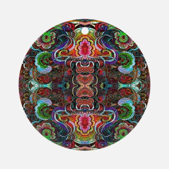 Colorful Abstract Fractal Floral Ornament (Round)
