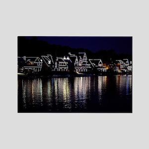 Philadelphia Boathouse Row, Night Rectangle Magnet