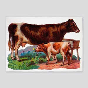 Cow and Calf 5'x7'Area Rug