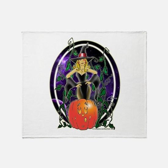 NEW! Pumpkin Witch Throw Blanket