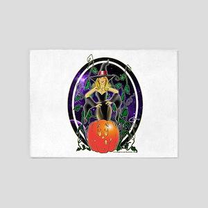 NEW! Pumpkin Witch 5'x7'Area Rug