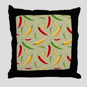 Raining Peppers Throw Pillow