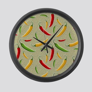 Raining Peppers Large Wall Clock