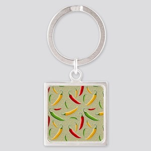 Raining Peppers Square Keychain