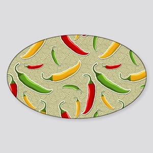 Raining Peppers Sticker (Oval)