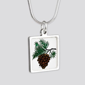 NEW! Fir Limb Silver Square Necklace