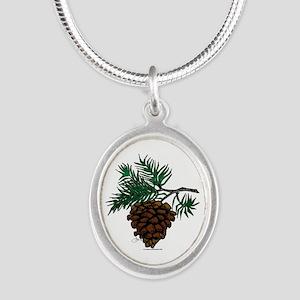 NEW! Fir Limb Silver Oval Necklace
