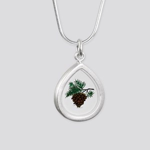 NEW! Fir Limb Silver Teardrop Necklace