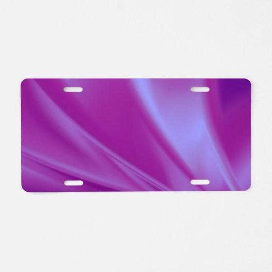 Veils of Purple Fractal Aluminum License Plate