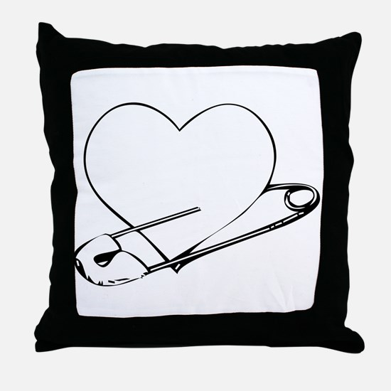 Safety Pin Heart Throw Pillow