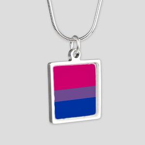 Bisexual Pride Flag Silver Square Necklace
