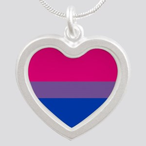 Bisexual Pride Flag Silver Heart Necklace