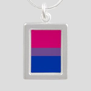 Bisexual Pride Flag Silver Portrait Necklace