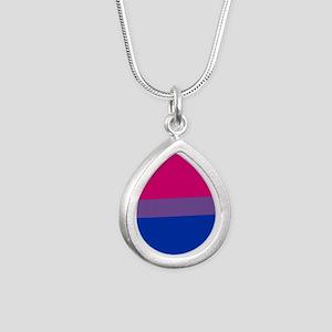 Bisexual Pride Flag Silver Teardrop Necklace