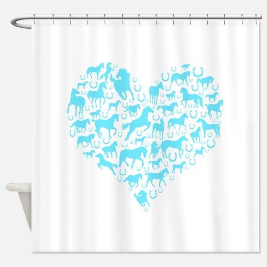 Horse Heart Light Blue Shower Curtain