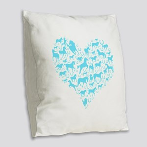 Horse Heart Light Blue Burlap Throw Pillow