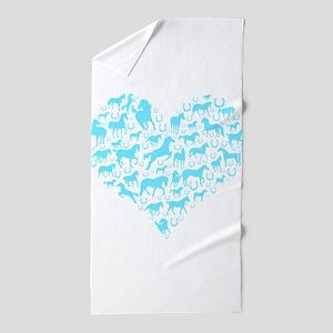 Horse Heart Light Blue Beach Towel
