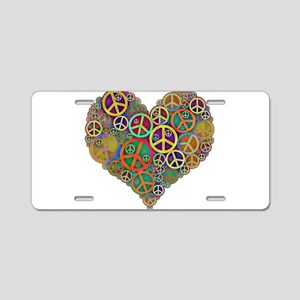 Colorful Peace Signs Heart Aluminum License Plate