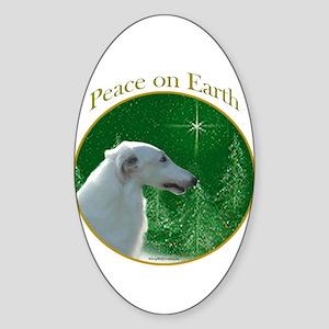 Borzoi Peace Oval Sticker