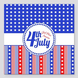 "4th July Square Car Magnet 3"" x 3"""
