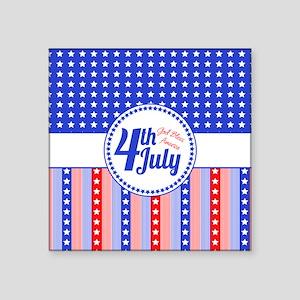 "4th July Square Sticker 3"" x 3"""