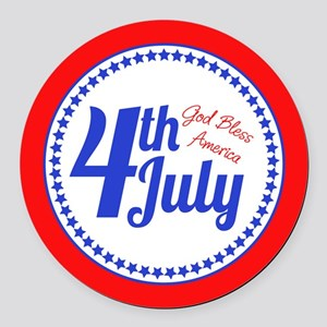4th July Round Car Magnet