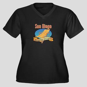 San Diego Re Women's Plus Size V-Neck Dark T-Shirt