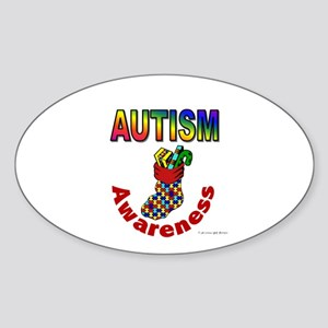 Autism Christmas Stocking 6 Oval Sticker