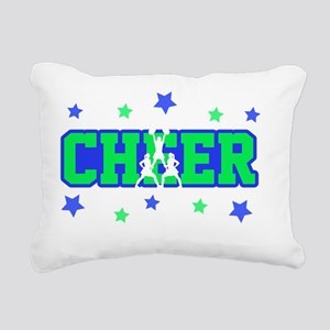 Blue & Green Cheer Silho Rectangular Canvas Pillow