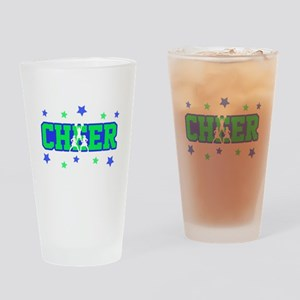 Blue & Green Cheer Silhouette Drinking Glass