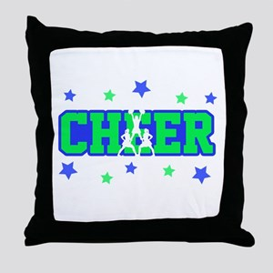 Blue & Green Cheer Silhouette Throw Pillow