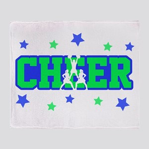 Blue & Green Cheer Silhouette Throw Blanket